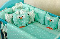 Детское постельное польская бязь защита на кроватку игрушки - подушки, зеленые совы бублики