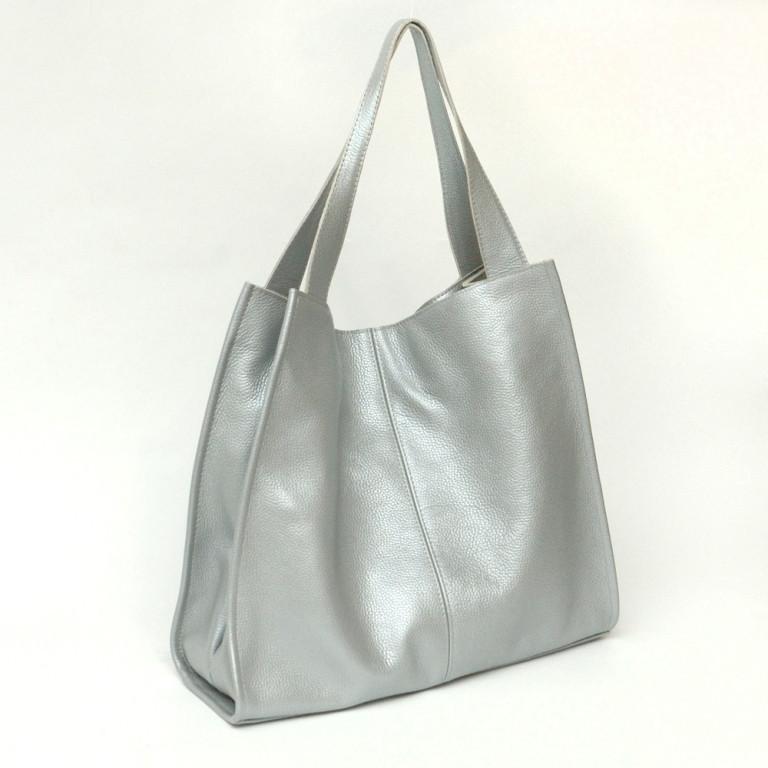 Кожаная сумка модель 12  серебристый флотар