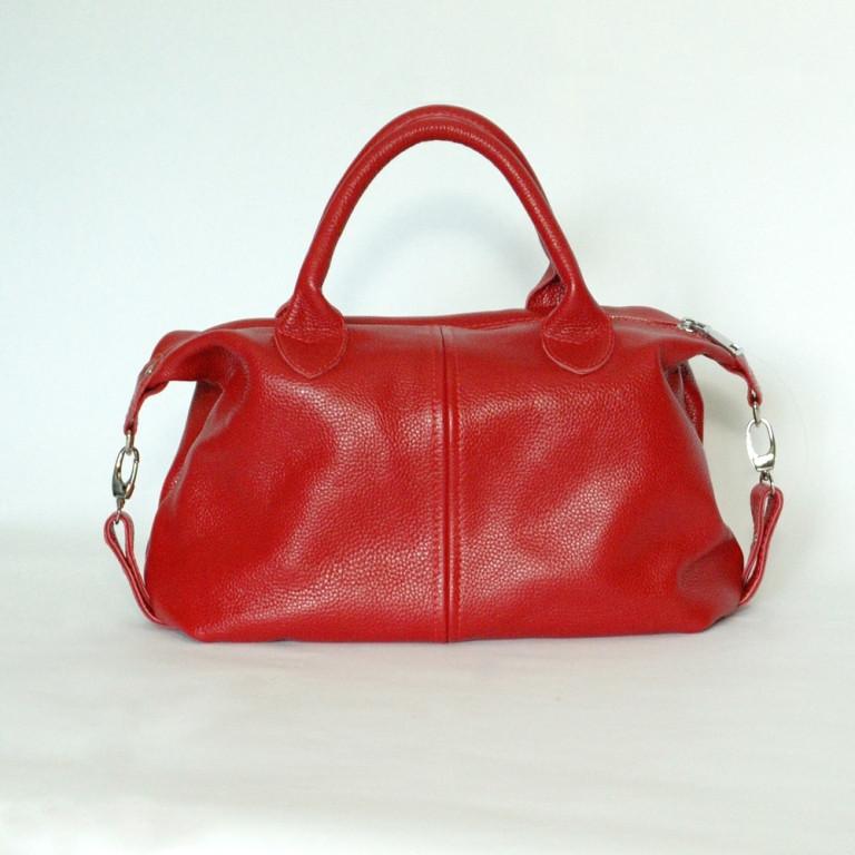 Кожаная сумка модель 20 красный флотар