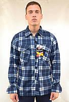 Рубашка мужская флисовая в клетку на пуговицах