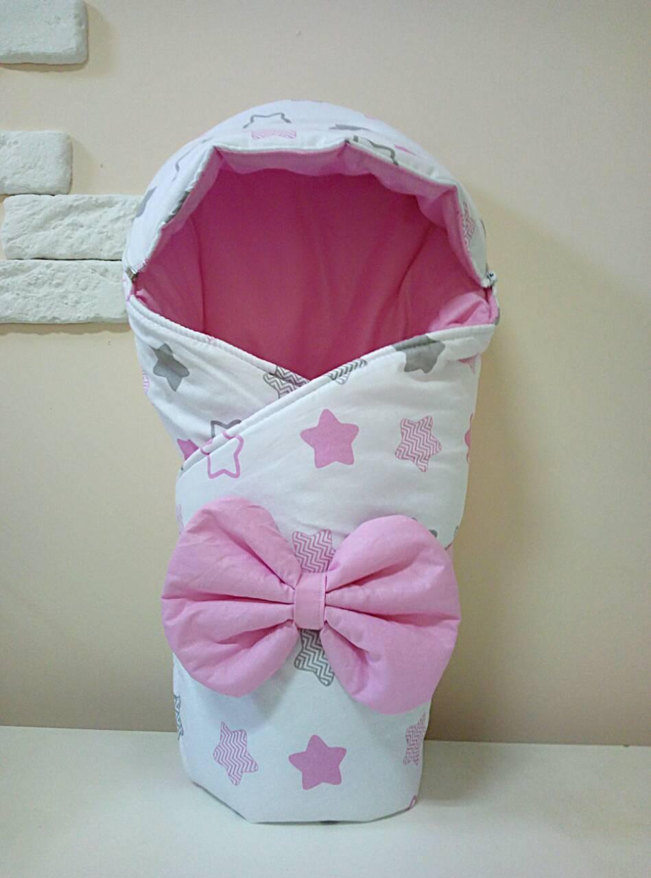 Теплый конверт-одеяло со съемным капюшоном на выписку зима 80х80см бело/розовый звезды
