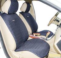 Накидки на кожаные передние сиденья Palermo Front  ткань черная/ нить синяя 21754