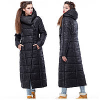Женское черное стеганое зимнее пальто длинное в модный принт 2020 размеры 42-54