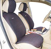 Накидки на передние кожаные сиденья Palermo Front  ткань черная/ нить красная 21751