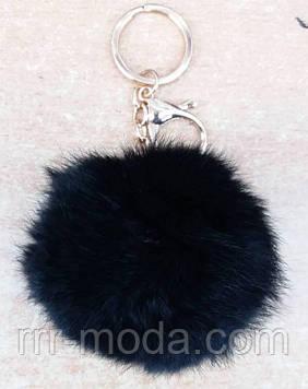 Меховые брелки балабоны черного цвета, брелоки оптом 326