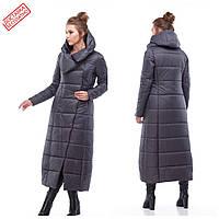 Женское стеганое зимнее пальто длинное, размеры 44-54