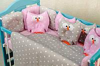 Детское постельное польская бязь защита на кроватку игрушки - подушки, розовый серый сови бублики