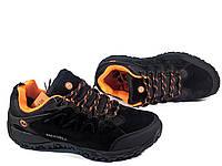 Мужские демисезонные кроссовки Merrell с утеплителем, чёрные с оранжевым, натуральный нубук