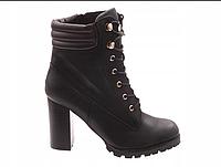Чёрные ботильоны на каблуке, ботинки на шнуровке, фото 1