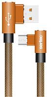 Кабель USB/IPHONE 5 SERTEC ST-054 L+L круглый тканевый BROWN (2 м), фото 1
