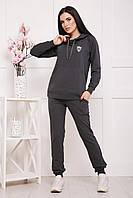 Костюм жіночий спортивний з капюшоном,темно-сірий 42-50р