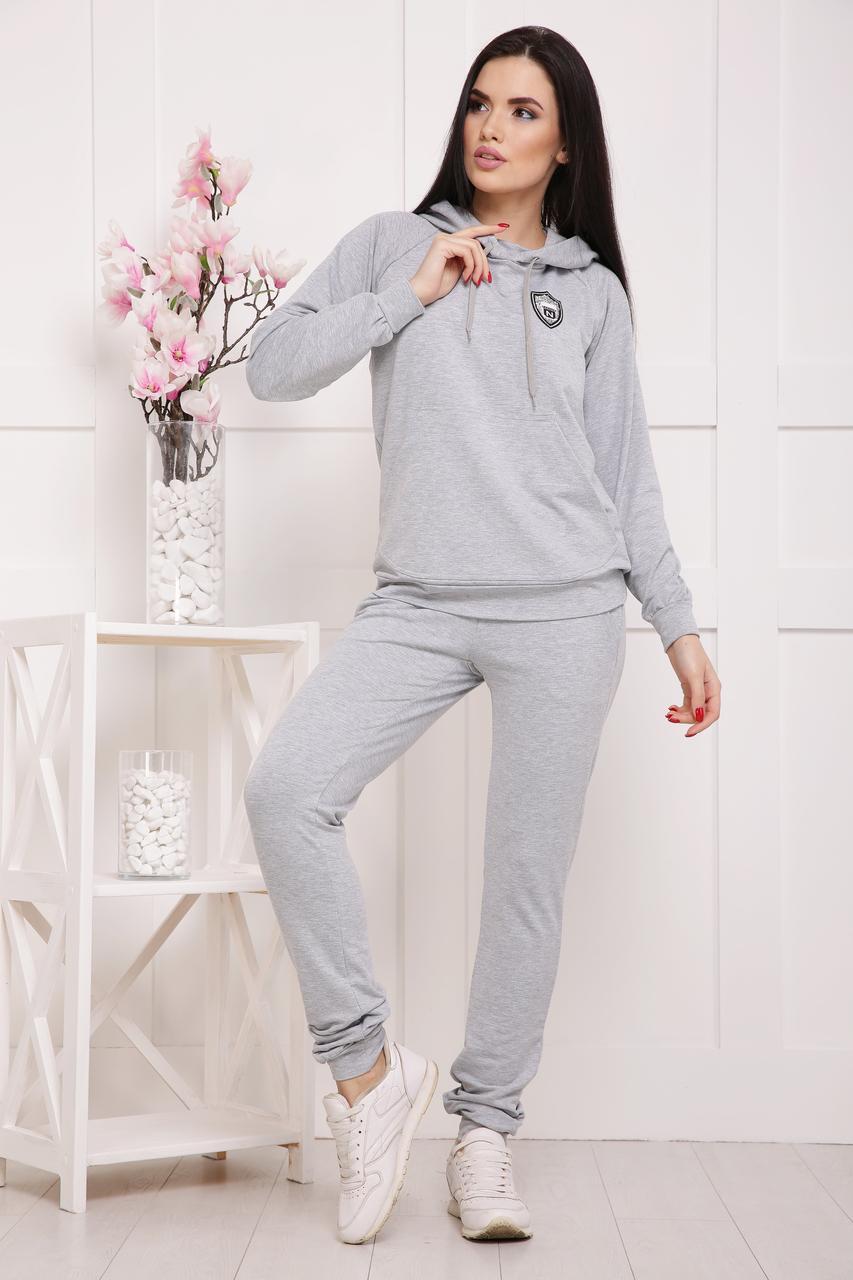 Костюм женский спортивный с капюшоном,серый 42-50р
