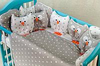 Детское постельное польская бязь защита на кроватку игрушки - подушки, серые совы с подушечками