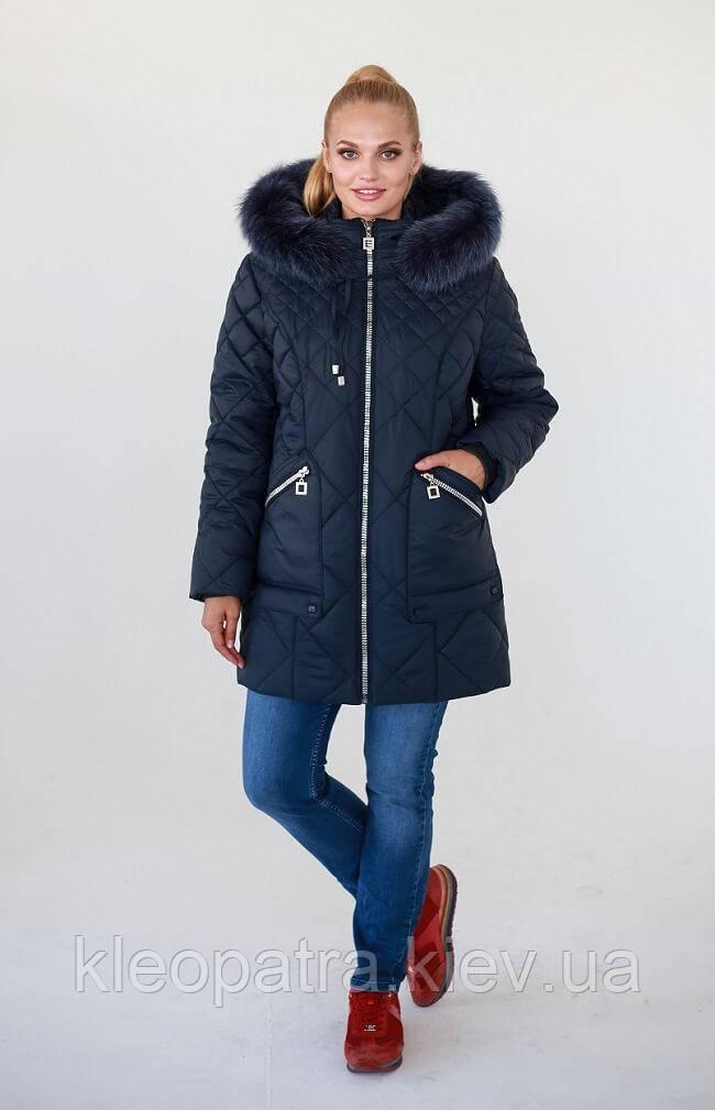 Зимняя женская куртка батал Одри с натуральным мехом песца