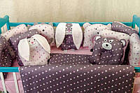 Детское постельное польская бязь защита на кроватку игрушки - подушки, фиолетовый фон с розовым принтом