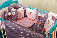 Детское постельное польская бязь защита на кроватку игрушки - подушки, фиолетовый с розовым польская бязь
