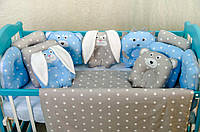 Детское постельное польская бязь защита на кроватку игрушки - подушки, синий с серым зайчишки и медвежата