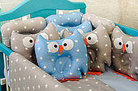 Детское постельное польская бязь защита на кроватку игрушки - подушки, синий с серым цвет набор звери