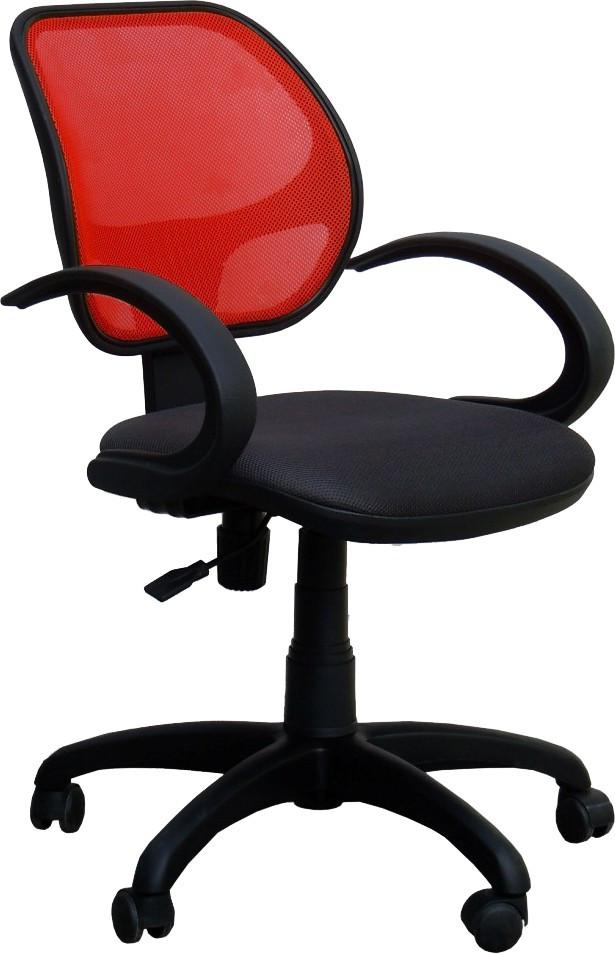 Кресло Байт/АМФ-5 сиденье Сетка черная/спинка Сетка красная
