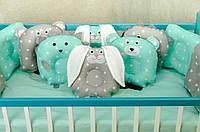 Детское постельное польская бязь защита на кроватку игрушки - подушки, зеленый с серым принтом