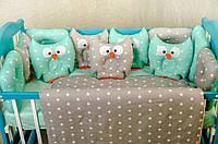 Детское постельное польская бязь защита на кроватку игрушки - подушки, зеленый с серым принт совы