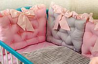Детское постельное польская бязь защита на кроватку в виде подушек розовый с серым нежный цвет для девочки