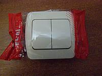 Выключатель двойной (без вставки) EL-BI, ZIRVE кремовый