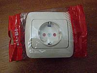 Розетка одинарная с заземлением и защитными шторками (фикслайн) EL-BI, ZIRVE Кремовый