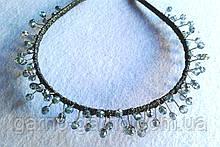 Обруч для волос с хрустальными бусинами голубой