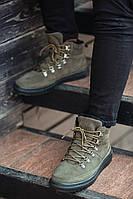 Зимние ботинки оригинал South Snake Khaki, натур. мех, замша, хаки