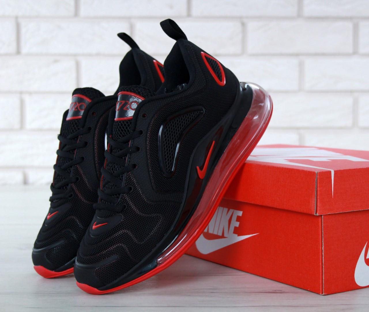 Кроссовки мужские Найк Nike Air Max 720 Black/Red. ТОП Реплика ААА класса.