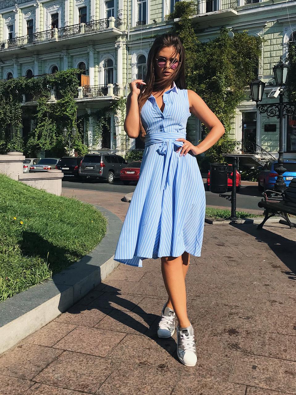 Платье-полоска голубое, арт.1009