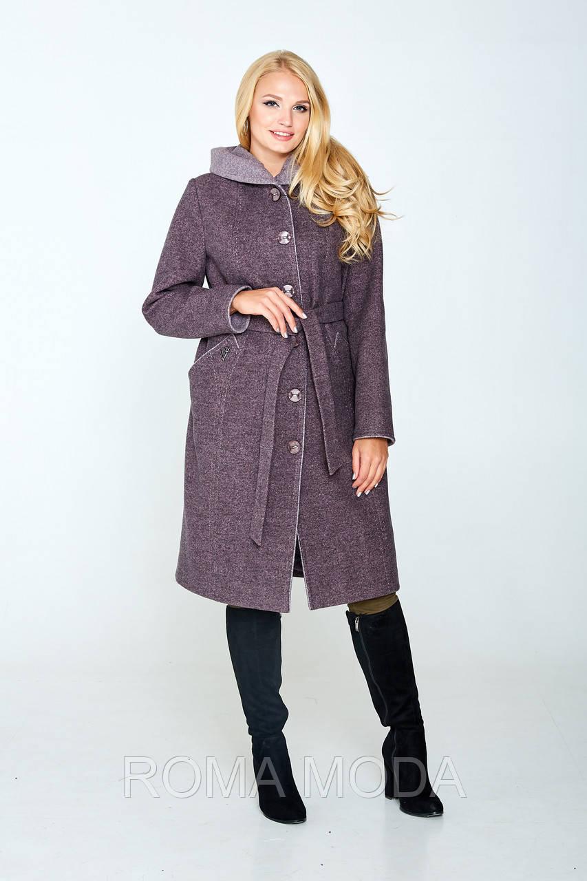 Стильное пальто женское демисезонное с капюшоном в 2х цветах Лайма 48-58 размеры