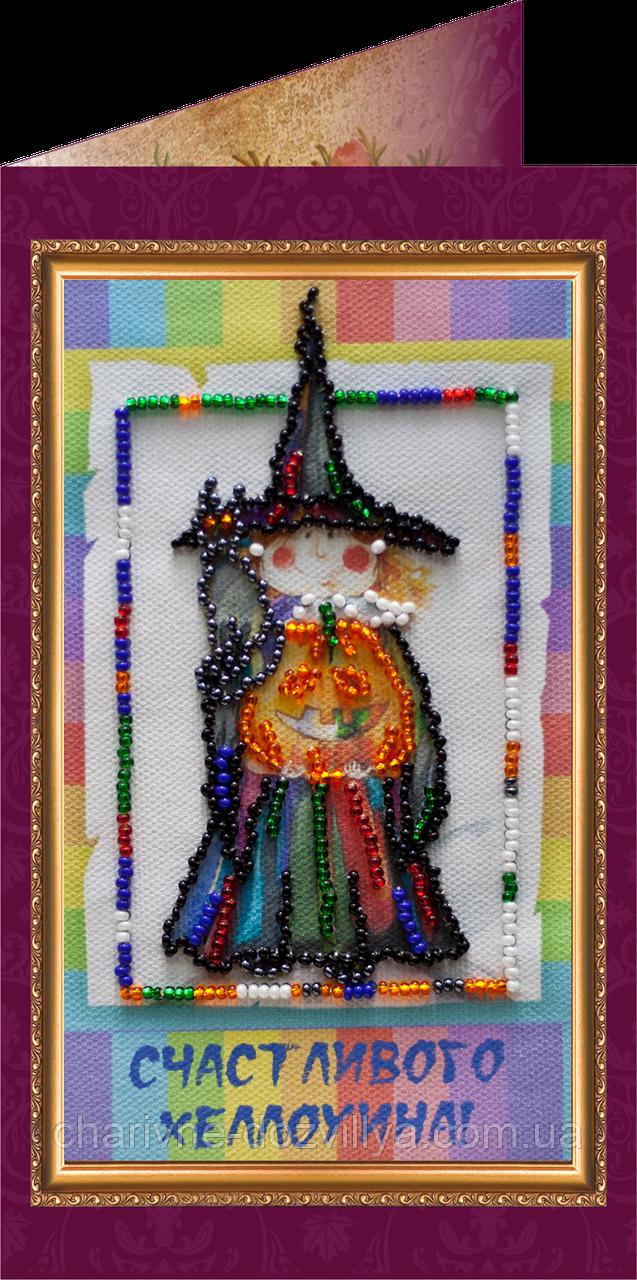 Набор для вышивки бисером открытка Счастливого Хэлоуина