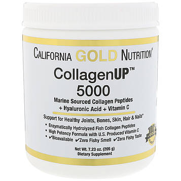 California Gold Nutrition, Коллаген UP 5000,  пептиды коллагена, полученные из морских источников + гиалуроновая кислота + витамин С, 7,23 унции (205