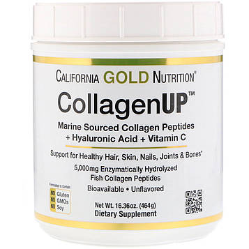 California Gold Nutrition, Collagen UP 5000, Marine-Sourced Collagen Peptides + Hyaluronic Acid + Vitamin C, 16.36 oz (464 g)