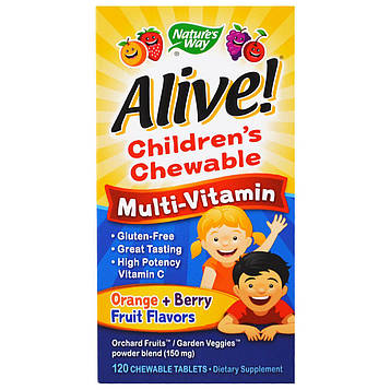 Natures Way, Alive! Childrens Chewable Multi-Vitamin, Orange + Berry Fruit Flavors, 120 Chewable Tablets