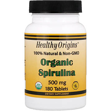 Healthy Origins, Органическая спирулина, 500 мг, 180 таблеток