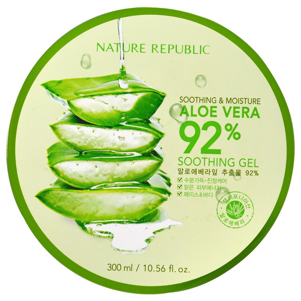 Nature Republic, Смягчающий и увлажняющий гель с алоэ вера (92%), 10,56 жидких унций (300 мл)