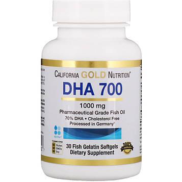 California Gold Nutrition, Рыбий жир ДГК 700, фармацевтического класса, 1000 мг, 30 желатиновых мягких таблеток в форме рыбок