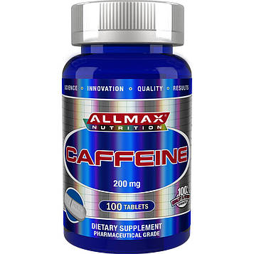 ALLMAX Nutrition, 100% чистый кофеин + легко разрезать таблетку пополам, 200 мг, 100 таблеток