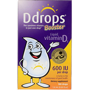 Ddrops, Booster, витамин D3 в жидкой форме, 600 МЕ, 2,8 мл (0,09 унций)