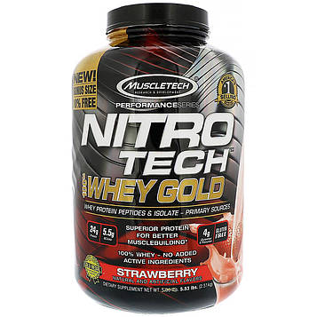 Muscletech, Nitro Tech 100% Whey Gold, клубника, 5.53 фунтов (2.51 кг)