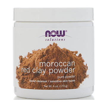 Now Foods, Порошок красной марокканской глины, Solutions, 6 унц. (170 г)