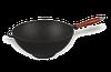 Казан чугунный эмалированный (кастрюля WOK) с деревянной ручкой без крышки. Объем 3,5 литров.