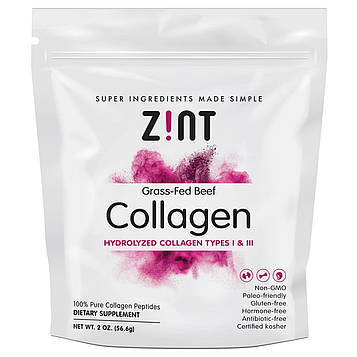 Zint, Говяжий коллаген от коров на травяном откорме, гидролизованный коллаген типов I и III, 56,6 г (2 унции)
