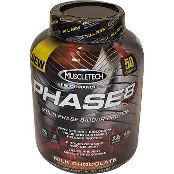Muscletech, 8-часовой белок с вкусом молочного шоколада Performance Series, Phase8, многофазный, 2,09 кг (4,60 фунтов)