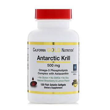 California Gold Nutrition, Жир арктического криля, с астаксантином, RIMFROST, натуральный клубничный и лимонный вкус, 500 мг, 120 желатиновых
