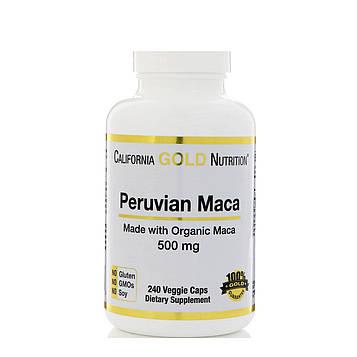 California Gold Nutrition, Перуанский мака, Органический корень, 500 мг, 240 вегетарианских капсул