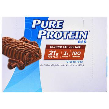 Pure Protein, Батончики с высоким содержанием белка, с шоколадным вкусом, 6 батончиков, 1,76 унций (50 г) каждый